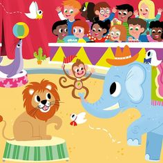 """Adding colors is my favorite part of the whole process. For me it is the moment when the drawings """"come to life"""". #wip #illustration #kidlitart #childrenbookillustration #circus #animals #kids"""