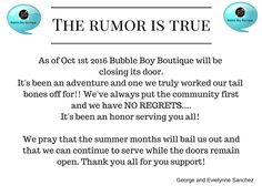 - Yes we still will be sewing full time until Oct 1 - Yes please still shop our boutique - Yes we still will be hosting the vendor lot this summer - Yes unless otherwise stated Bountiful Baskets will still be hosted here this summer #doubleteampromotionsocialmedia #bubbleboyboutique