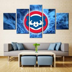 Chicago Cubs MLB Baseball 5 Panel Canvas Wall Art Home Decor