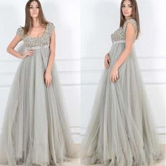 A Line Grey Pregnant Prom Dresses Sleeveless Scoop Empire Beaded Sequins Evening Gown Long Pageant Dresses Vintage Floor Length Party Gowns Online with $104.72/Piece on Weddinggirlsdress's Store | DHgate.com