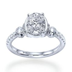 """""""Chateau"""" Exclusive Designer Antique Keys Inspired Oval Shaped Diamond Engagement Ring"""