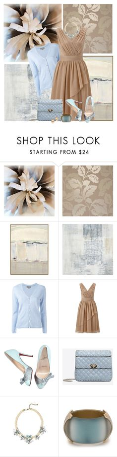 """""""Taupe and Blue"""" by honkytonkdancer ❤ liked on Polyvore featuring Hostess, Wendover Art Group, Casadeco, N.Peal, Ariella, Christian Louboutin, Valentino, BaubleBar, Alexis Bittar and taupeandblue"""
