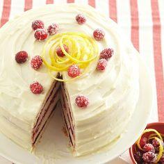 Cranberry-Vanilla Bean Cake with Lemon Cream Cheese Frosting