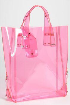 transparent pink bag, Alexander McQueen
