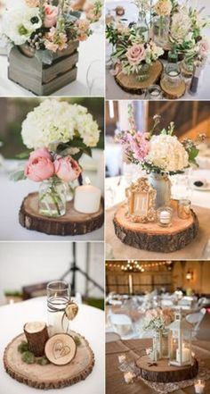 Wood slices, rounds, planks – BarnYard Bride - New Sites Wedding Centerpieces Mason Jars, Rustic Wedding Centerpieces, Wedding Table Centerpieces, Floral Centerpieces, Wedding Decorations, Used Wedding Decor, Shabby Chic Centerpieces, Round Wedding Tables, Shabby Chic Wedding Decor