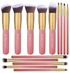 BS-MALL New 14 Pcs Makeup Brushes Premium Synthetic Kabuk...