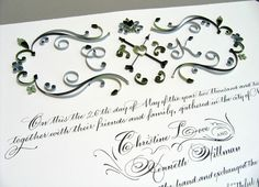 Quilled Marriage Certificate Monogram by Ann Martin, as seen on Paper Crave