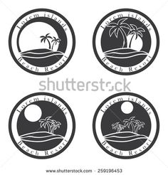 Palm trees and sun, beach resort logo design template. tropical island or vacation icon set. - Shutterstock Premier