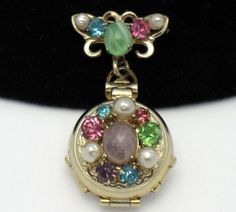 Vintage CORO PEGASUS Baroque Pearl  Jeweled Locket Brooch
