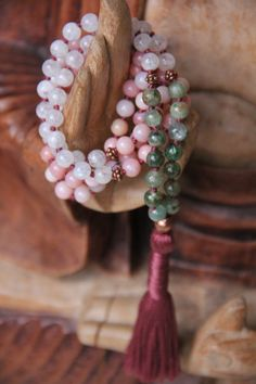 genuine pink opal, rainbow moonstone & green kyanite, 108 knotted gemstone zen mala, prayer beads, japa, meditation mala