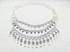 Lace Tatted Necklace with Sterling and glass pearls