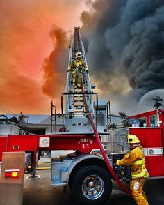 Reaching for the sky Firefighter Family, Firefighter Pictures, Volunteer Firefighter, Fire Dept, Fire Department, Fire Helmet, Fire Equipment, Fire Apparatus, Fire Engine