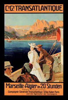 Marseille-algiers cruise line 20x30 poster