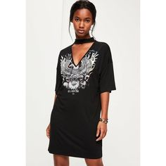 Missguided Printed Choker Neck T-Shirt Dress ($32) ❤ liked on Polyvore featuring dresses, black, t shirt dress, t-shirt dresses, missguided dress, tee shirt dress and grunge dress