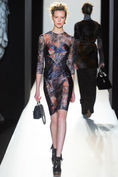 #LFW #FW2012 #RTW  This dress almost looks like its a tattoo on the sleeves and the neck. I really like the print and how silky it looks.