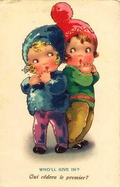 """""""Who'll Give In?"""" Vintage Postcard ~ LÁMINAS ANTIGUAS 3-Ideas y Trabajos terminados (pág. 795)"""