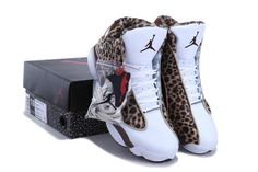 Women Air Jordan 13 Leopard Print White Coffe Shoes