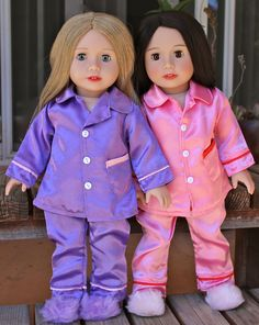 Satin Doll Pjs with Slippers for American Girl Dolls are at www.harmonyclubdolls.com