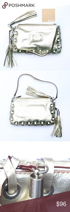 Michael Kors metallic gold leather bag Classy AND boho, this Michael Kors bag was used only once. It's a light-colored metallic gold finish on leather.  Other than two tiny marks on the inside, it looks new. Dust bag included🔆 Michael Kors Bags