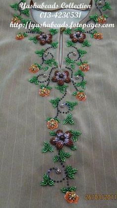 Tulle hand-embroidered using velvet and satin applique work in glorious summer colors Zardozi Embroidery, Embroidery On Kurtis, Kurti Embroidery Design, Pearl Embroidery, Hand Embroidery Dress, Embroidery Neck Designs, Bead Embroidery Patterns, Embroidery Works, Hand Embroidery Stitches