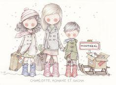 by Celine Bonnaud Celine, Illustration Mignonne, Cute Illustration, Cute Images, Cute Pictures, Painting For Kids, Art For Kids, Art Fantaisiste, Whimsy Stamps