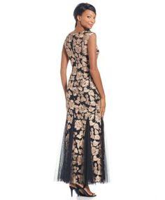 Alex Evenings Floral Soutache Gown - Black 6