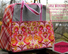 LARGE Weekender Bag in Grey, pink & orange featuring Tula Pink's Squirrel fabric