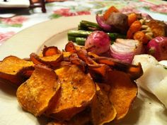 Baked Sweet Potato Chips!  Gluten Free, Vegan, Maker's Diet  glutenfreehappytummy