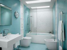 azulejos para baños de color celeste