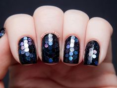 chalkboardnails:  31DC2013 Day 17: Midnight Mermaid Glitter Placement Duri Into the FurtherBlack holo circle glitterWhite wax placement pencil