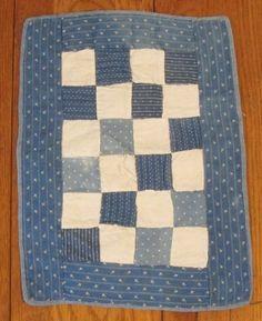 Original c 1880-90s Indigo BLUE PA Doll Quilt Antique