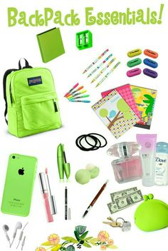BackPack Essentials! Everything a teen girl should have in a  purse or backpack for school! Be Prepared :)