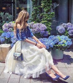 Just came across the beautiful blue and they matched my outfit💙✨ Paris Chic, Royal Dresses, Cute Dresses, Maxi Dresses, Mode Lolita, Holiday Outfits Women, Looks Chic, Stylish Girl, Stylish Outfits