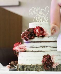 Semi-Naked Hochzeitstorte // Rezept & How-To Naked, Desserts, Cake Wedding, Cake Ideas, Essen, Tailgate Desserts, Deserts, Postres, Dessert