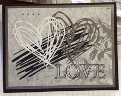 Wedding love card using Tim Holtz Scribbles and Splat heart die