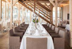 The restaurant of Vigilius Mountain Resort on the Alpes / Il ristorante dell'hotel Vigilius Mountain sulle Alpi