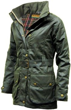 Womens Game BLAZE Antique Waxed Cotton Wax Jacket With Belt
