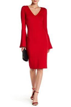 V-Neck Bodycon Bell Sleeve Dress