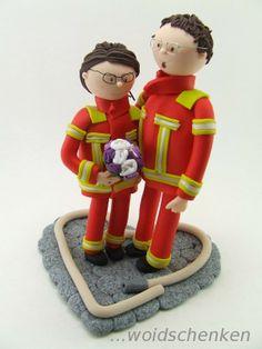 Tortenfigur Feuerwehrbrautpaar