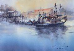 Direk Kingnok Watercolor artist The fishing village, Pulau Ketam, Malaysia. 35 x 50 cm.