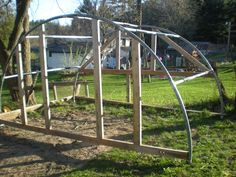 If your thinking about building a greenhouse you might consider using an old trampoline as your frame. (A Frame Chicken Houses) Trampolines, Recycled Trampoline, Backyard Trampoline, Trampoline Parts, Permaculture Principles, Build A Greenhouse, Building A Chicken Coop, Chickens Backyard, Woodworking Projects Plans