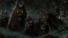 Werewolf pack in the rain wallpaper - Fantasy wallpapers - #17082