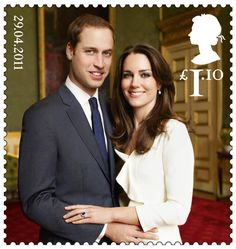 postage stamp commemorating William & Kate's wedding