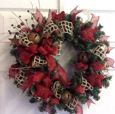 Jingle Bell Country Christmas Wreath with by SeasonsAtRosehill, $42.50