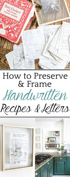 How to Preserve and Frame Handwritten Recipes and Letters - Bless'er House #walldecor