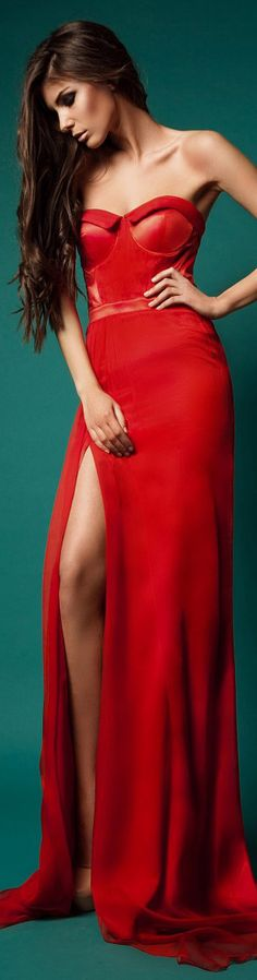 this but with darker red color would look better Red Fashion, High Fashion, Sexy Dresses, Prom Dresses, Dresses 2016, Before Midnight, Red And Teal, Formal Gowns, Beautiful Gowns