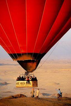 red hotair balloon