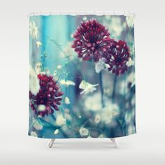 Flowers on Blue Shower Curtain