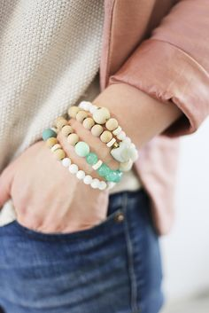 Love the layered look with these Ecru bracelets.