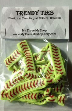 Softball Hair Tie elastic Hair Tie Foldover by MyThreeMsShop
